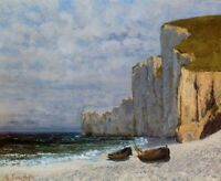 Fine Art Repro Print on Canvas Gustave Courbet A Bay with Cliffs Giclee Small