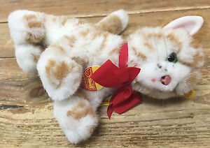 Steiff Standing Lizzy Kitty Cat White Orange Tabby Green Eyes 2728/17 Austria