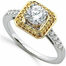 0.77 carat Round cut Diamond Halo style Engagement 14k Two-Tone Gold Ring G SI1