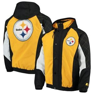 New Men's Pittsburgh Steelers 'STARTER' Heavy Hitter Quilted Hooded Jacket Sz XL