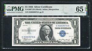 FR. 1607 1935 PLAIN $1 ONE DOLLAR SILVER CERTIFICATE PMG GEM UNCIRCULATED-65EPQ