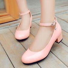 Strap Mary Jane Lolita Pumps Shoes Plus Size 13 Womens Patent Cuban Heel Ankle