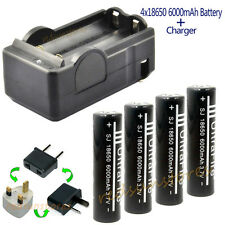 New 4X18650 6000mAh li-ion Rechargeable Battery For LED Flashlight Torch+Charger