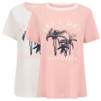 Tokyo Laundry Women's Deia Tropical Palm Print Cotton Crew Neck Ringer T-Shirt