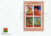 Madagascar 2019 FDC Lion King 4v MS Cover Lions Disney Cartoons Animation Stamps
