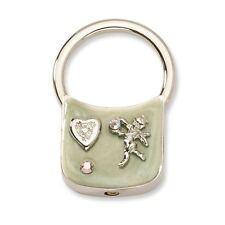 Tone Key Fob 1928 Boutique Angel w/Crystals Light Green Enamel Silver