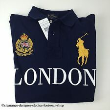 Ralph Lauren Polo Big Pony Londres ciudades Azul Marino Top T-Shirt Large RRP £ 115