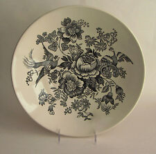 "NEW ROYAL STAFFORD England PHEASANT FLORAL BLACK WHITE Round 13.5"" Serving Bowl"