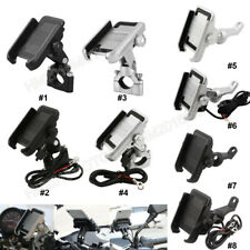 For Motorcycle Cell Phone Handlebar Mirror Mount Holder USB Charger Aluminum