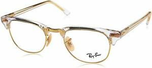 Ray Ban Clubmaster Eyeglasses RX5154 5762 49mm Transparent-Gold / Demo Lens