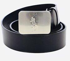 NWT POLO RALPH LAUREN Men's Black Leather Big Pony Silver Tone Plaque Belt Sz 36
