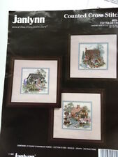 Cottage Trio Three Cross Stitch Kit on Evenweave Janlynn Country Crafts US