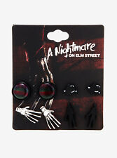 A Nightmare on Elm Street Freddy Krueger Earrings Set Plaid Sweater Hat Claw NWT