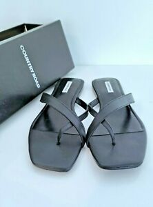 New COUNTRY ROAD SUMMER SANDALS - 42 EU, Women's BLACK Leather Thong, RRP$99.95
