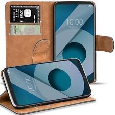 Handy Hülle für LG Q6 Case Schutz Tasche Cover Basic Flip Schwarz Bookcase