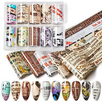 10Rolls Newspaper Letters Nail Art Foils Stickers Transfer Decals Decoration DIY