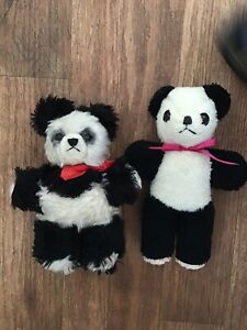Two Vintage None Jointed Panda Bears
