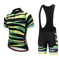 Men's Cycling Short Kit Green Zebra Bike Jersey Shirt Padded (Bib) Shorts Set