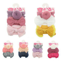 3x Baby Girls Kid Toddler Bow Knot Hair Band Headband Stretch Turbans Headwrap n