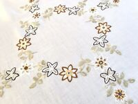 VINTAGE HAND EMBROIDERED WHITE LINEN TABLE CLOTH 31X34 INCHES