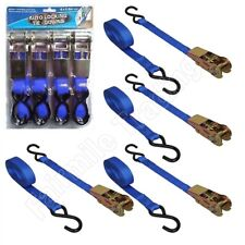 "4 Heavy Duty Ratchet Straps Tie Down Cargo Luggage Van Blue 4.6m/15' x 1""/25mm"