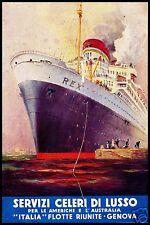 PUBBLICITA' 1933 REX TRANSATLANTICO ITALIA FLOTTE RIUNITE GENOVA  NAVE PARTENZA