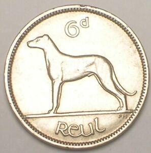 1934 Ireland Irish Free State 6 Pence Wolfhound Dog Coin XF