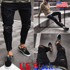 Men Black Skinny Jeans Pants Stretchy Destroyed Biker Ripped Long Denim Trousers