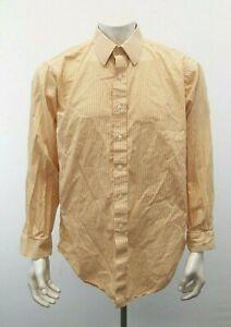 Brooks Brothers Shirt Mens 17 Yellow Striped Long Sleeve Button Up Dress Shirt