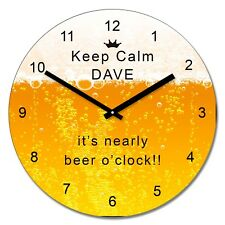 Personalised Keep Calm it's nearly beer o'clock Wall Clock - Add Name Gift 30cm