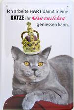 Blechschild Schild 20x30 cm Katze Luxusleben harte Arbeit Haustier Kätzchen Chef