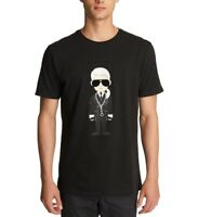 Karl Lagerfeld Mens T-Shirt Black Size Large L Caricature Crewneck Tee $49 #066