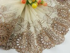 "6.5""*1yard delicate brown embroidered flower tulle lace trim DIY 405"