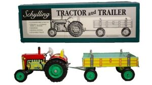VINTAGE SCHYLLING TIN LITHOGRAPHED TRACTOR & TRAILER WITH ORIGINAL BOX