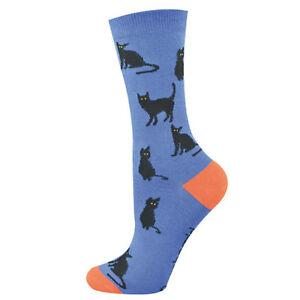 Bamboozld Socks Aus Design Womens Size 2-8 Black Cat on Blue