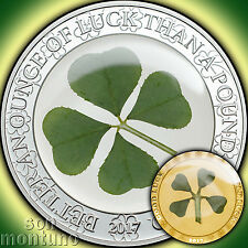 SILVER & GOLD 2 Coin Set - OUNCE OF LUCK & FOUR LEAF CLOVER IN GOLD - 2017 Palau