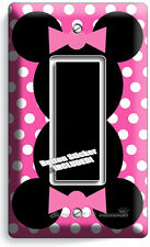MINNIE MOUSE EARS PINK POLKA DOTS GFCI LIGHT SWITCH COVER GIRLS ROOM DECORATION