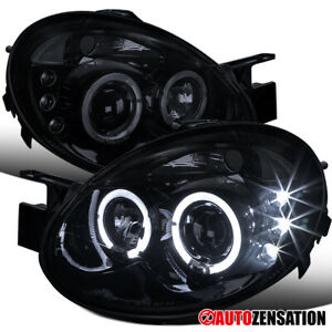 For 2003-2005 Dodge Neon Glossy Black Smoke LED Halo Projector Headlights Lamps