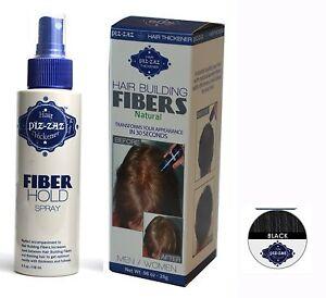 Piz-Zaz Hair Fibers 28 Gr Black Thinning Solution's +Hold Fiber Spray (Set)