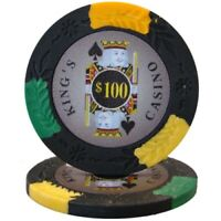 100 Black $100 Kings Casino 14g Clay Poker Chips New