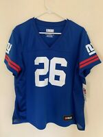 Saquon Barkley New York Giants Majestic Hashmark Player Name&Number T-shirt Blue