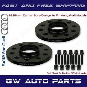2 Black 12mm Audi 5x112 Hub Bore Wheel Spacer Kit 66.6mm Fit Q5 SQ5 W/Ball Bolts