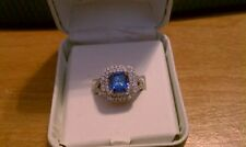 Ring .925 Sterling Silver Sapphire Cubic Framed in Swarovski Crystals Size 7