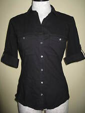 NEW James Perse Contrast Panel Black Shirt Top Blouse JP Size 4 or XL MSRP $144