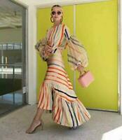 Womens Trendy Striped Slim Fit Long Sleeve Crew Neck Occident Dress Falbala 0417