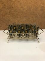 Mid Century Modern Glass Set Of 8 With Gold Tone Rack