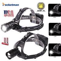 XHP70 90000LM LED Headlamp Rechargeable Headlight Led Torch Flashlight 3*18650