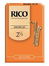 10 Pack Rico Baritone Saxophone Reeds # 2.5 Strength 2 1/2 RLA1025