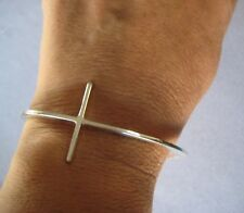 Taxco Mexico 925 Sterling Silver Long Modern CROSS Shiny Cuff Religious Bracelet