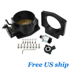 Black 92mm Intake Manifold Throttle Body With Tps Adapter Plate For Ls1 Ls2 Ls6
